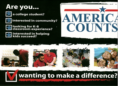 America Counts is for college students interested in community looking to help kids succeed through K-8 classroom experience.