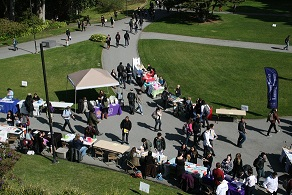 Aerial shot of service learning and internship fair